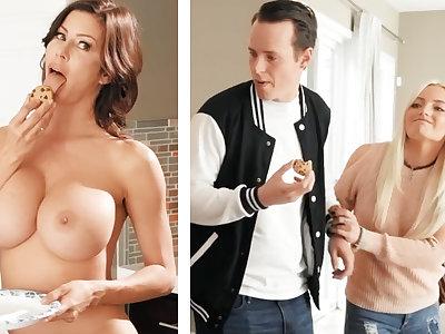 Boyfriend fucked GF's mom with huge boobs