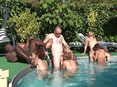 Granny dealings orgy open-air - interracial porn