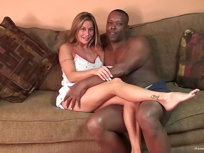 Silicone blonde gets the brush pussy pounded badly by a black dude