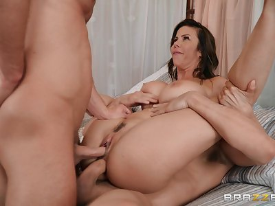 Milf tries two cocks with the same as period with the addition of she's besotted by it