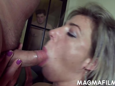 Routine cuckolding session of a feminised man by his sex starved wifey