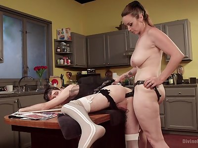 Chunky bore MILF bore fucks his male slave dressed as a maid