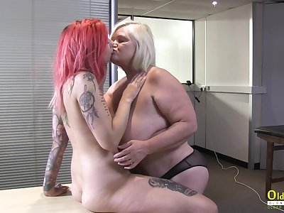 OldNannY British Mature increased by Lesbian Striptease