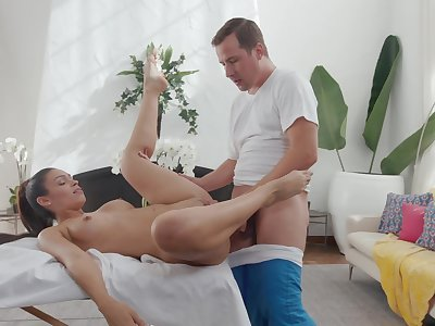 Adorable neonate sure loves the masseur's big inches