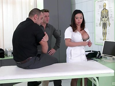 Nurse with generous boobs, have a screw loose Asian porn on three big dicks