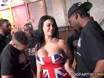 Majuscule UK MILF with huge tits enjoying a steamy interracial gangbang coitus