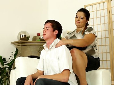 Chubby mommy gets intimate with her stepson