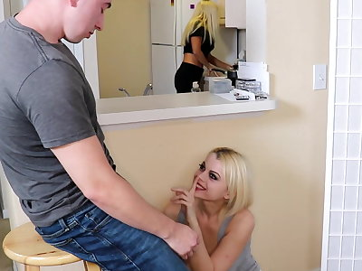 Sucks and fucks her step brother