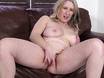 Mel Harper enjoys pleasuring her cravings overhead a fur couch